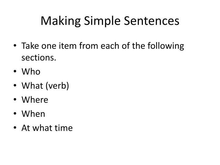 Making Simple Sentences