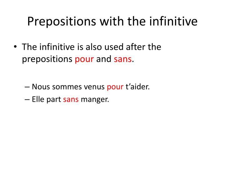 Prepositions with the infinitive
