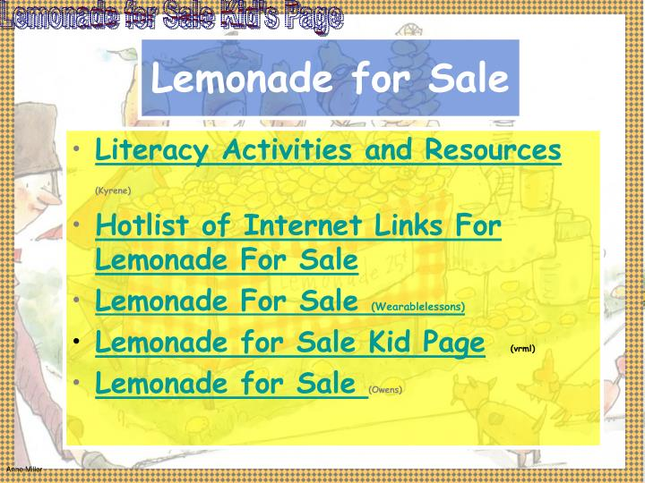 Lemonade for Sale Kid's Page