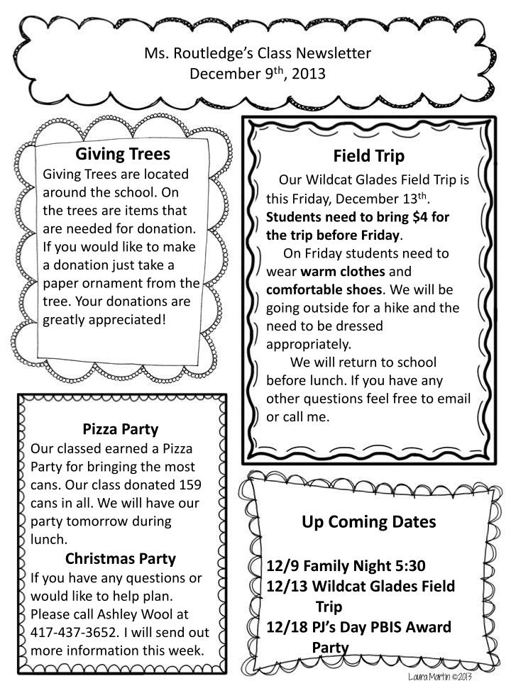 Ms. Routledge's Class Newsletter