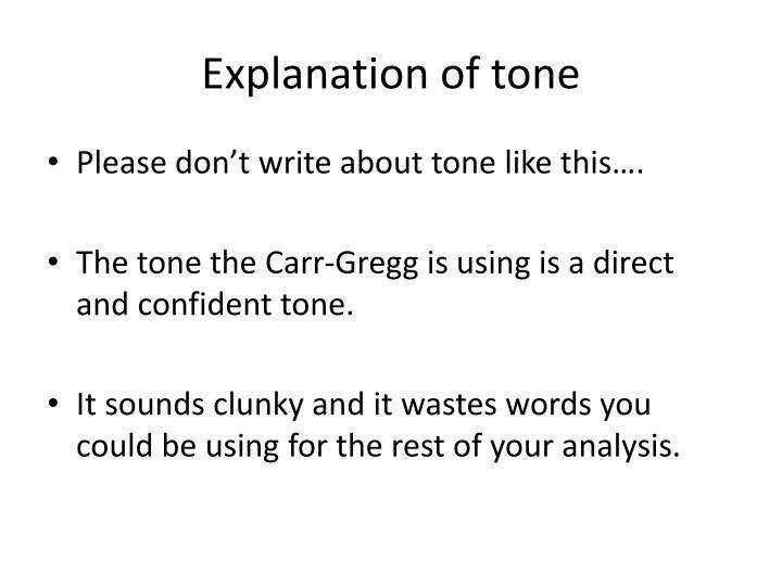 Explanation of tone