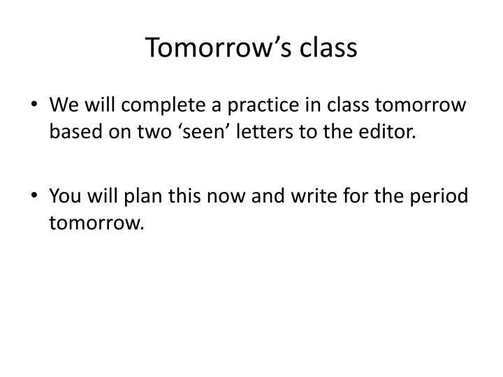 Tomorrow's class