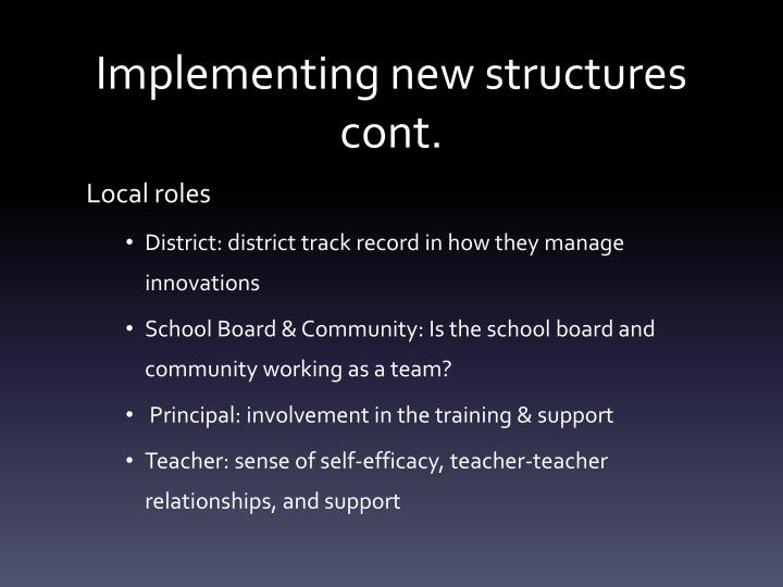 Implementing new structures cont