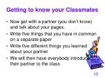 getting to know your classmates