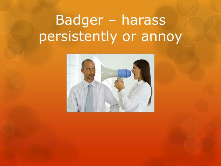 Badger – harass persistently or annoy