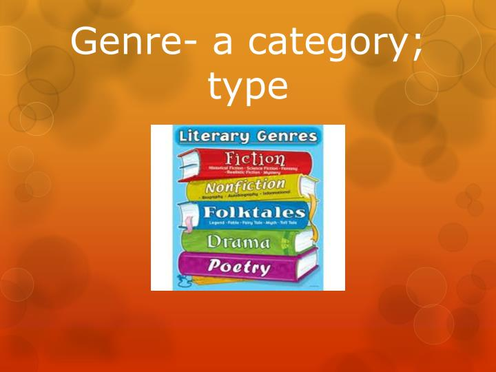 Genre- a category; type