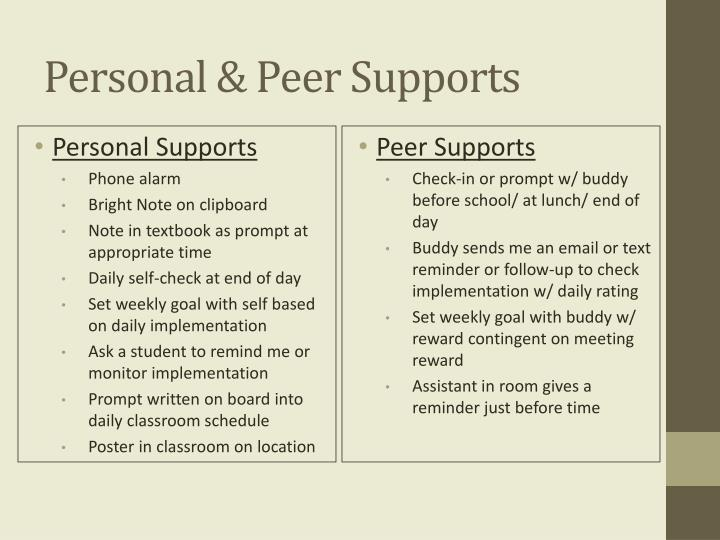 Personal & Peer Supports