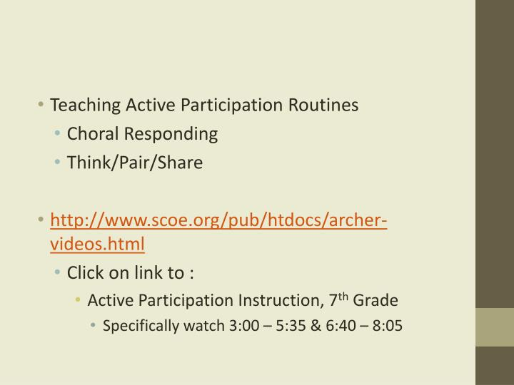 Teaching Active Participation Routines