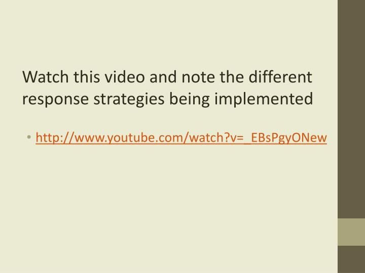 Watch this video and note the different response strategies being implemented