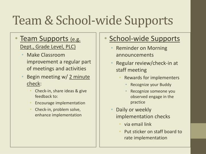 Team & School-wide Supports
