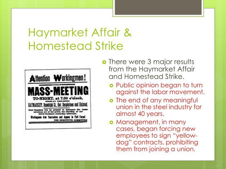 Haymarket Affair & Homestead Strike