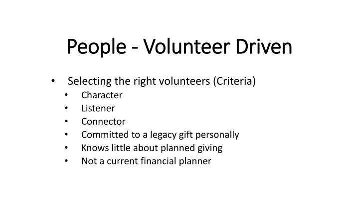 People - Volunteer Driven