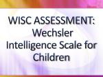 wisc assessment wechsler intelligence scale for children