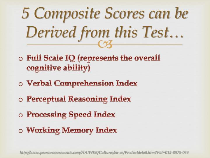 5 Composite Scores can be Derived from this Test…