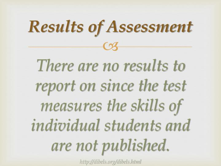Results of Assessment