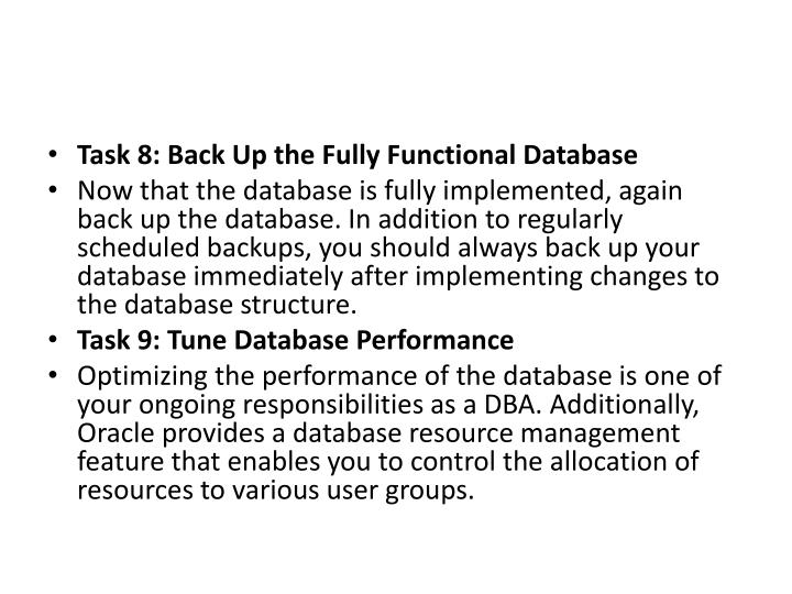 Task 8: Back Up the Fully Functional Database