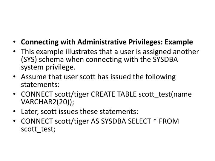 Connecting with Administrative Privileges: Example