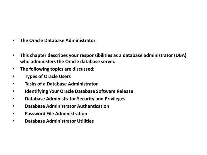 The Oracle Database Administrator