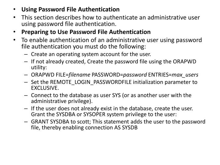 Using Password File Authentication