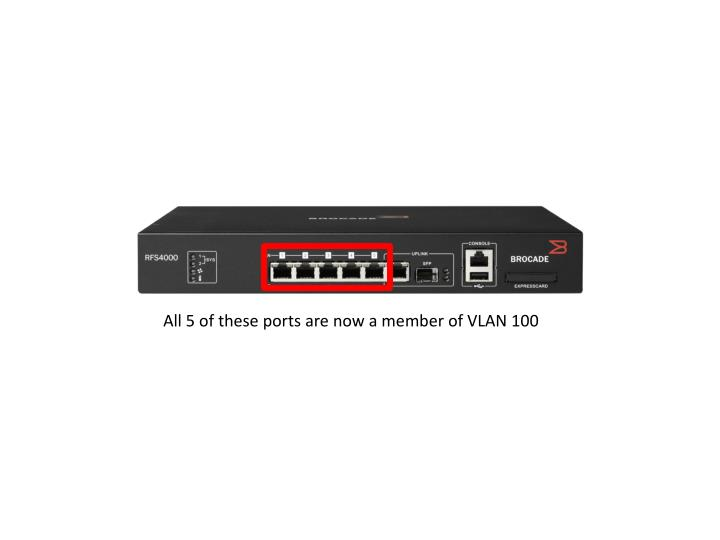 All 5 of these ports are now a member of VLAN 100
