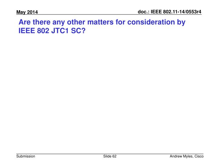 Are there any other matters for consideration by IEEE 802 JTC1 SC?