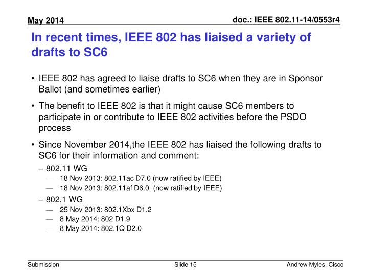 In recent times, IEEE 802 has liaised a variety of drafts to SC6