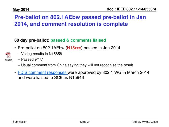 Pre-ballot on 802.1AEbw passed pre-ballot in Jan 2014, and