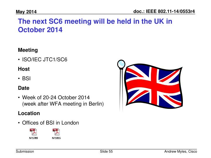 The next SC6 meeting will be held in the UK in October 2014