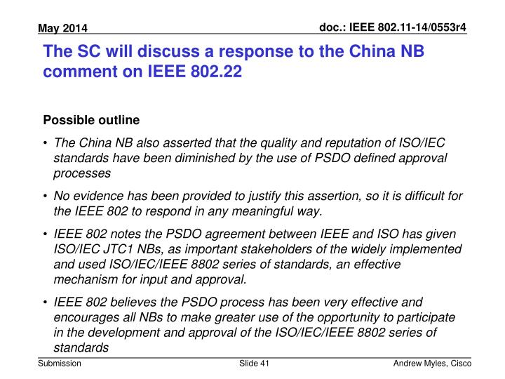 The SC will discuss a response to the China NB comment on IEEE 802.22