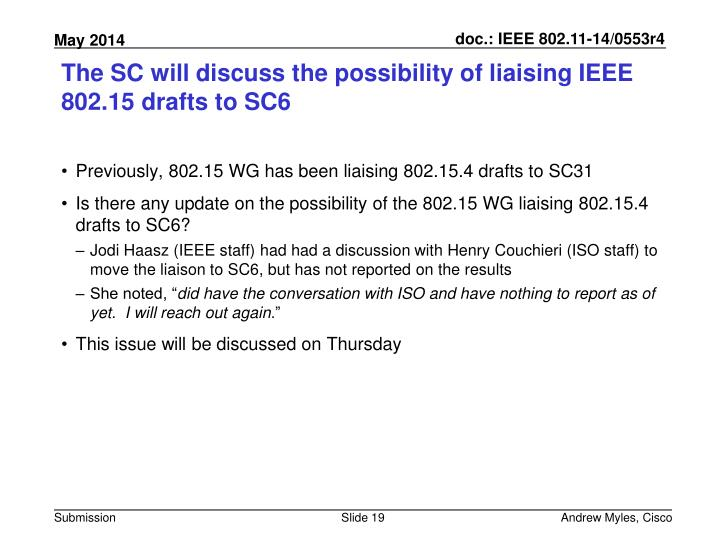 The SC will discuss the possibility of liaising IEEE 802.15 drafts to SC6
