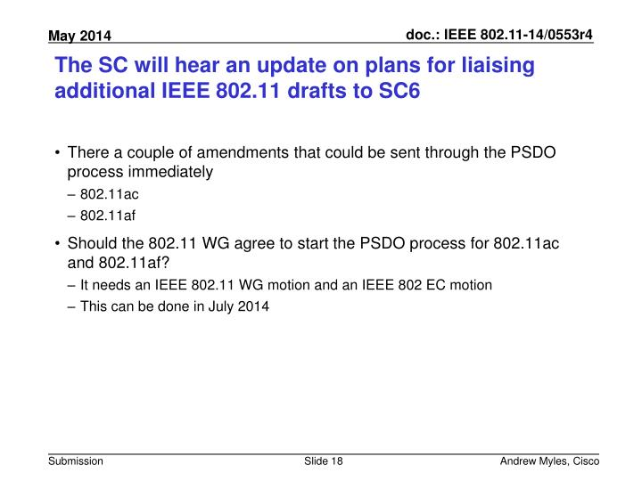 The SC will hear an update on plans for liaising additional IEEE