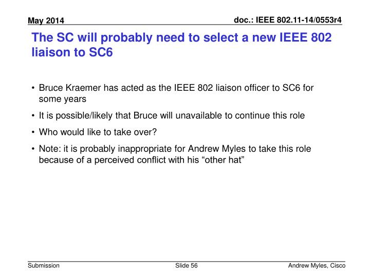 The SC will probably need to select a new IEEE 802 liaison to SC6