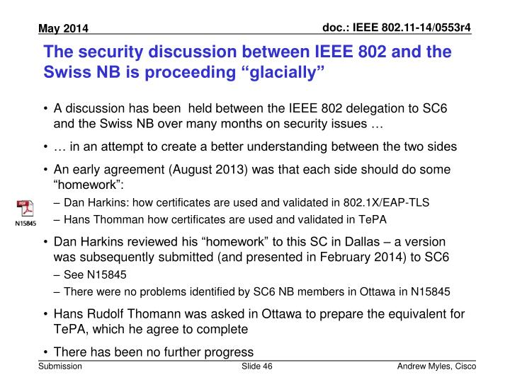 "The security discussion between IEEE 802 and the Swiss NB is proceeding ""glacially"""