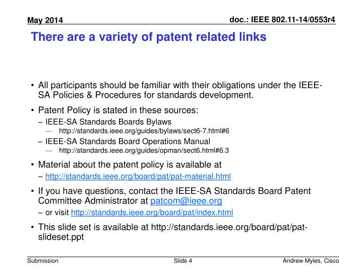 There are a variety of patent related links