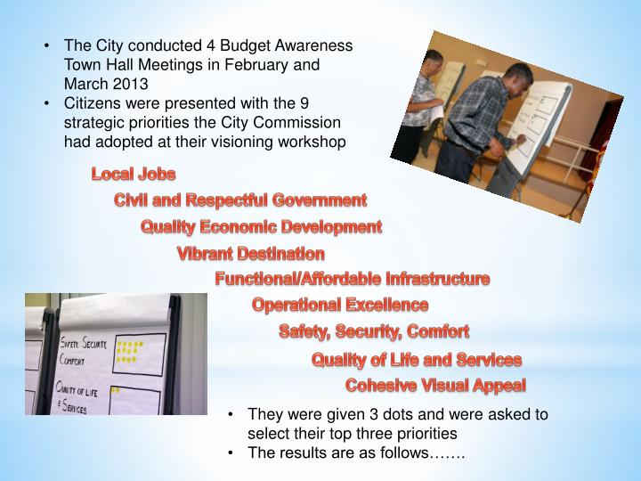 The City conducted 4 Budget Awareness Town Hall Meetings in February and March 2013
