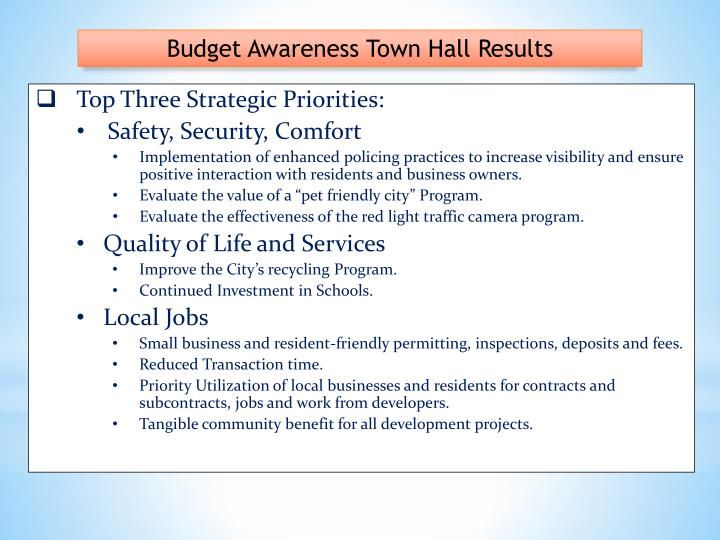 Budget Awareness Town Hall Results