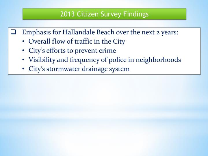 2013 Citizen Survey Findings
