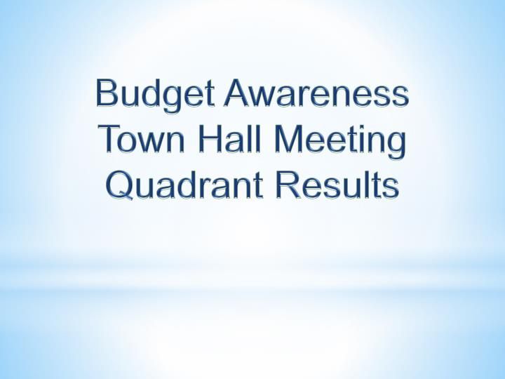Budget Awareness Town Hall Meeting Quadrant Results