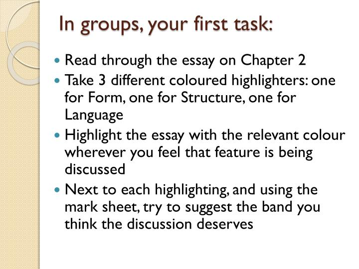 In groups, your first task: