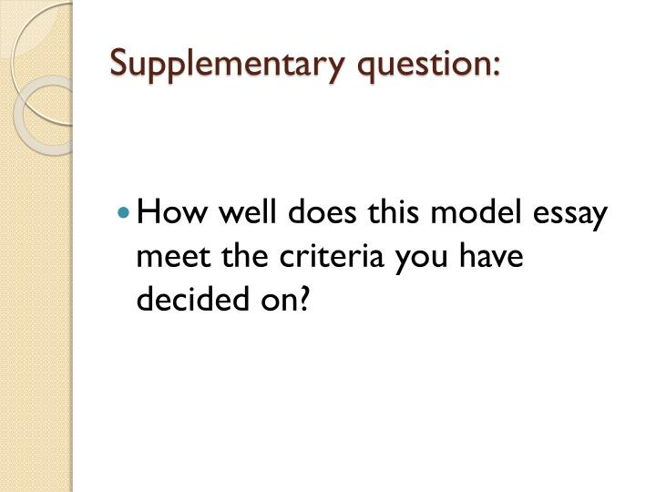 Supplementary question: