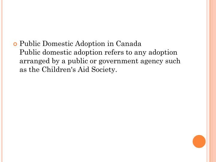Public Domestic Adoption in Canada