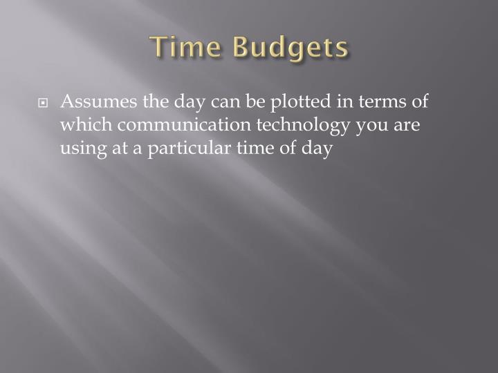 Time Budgets