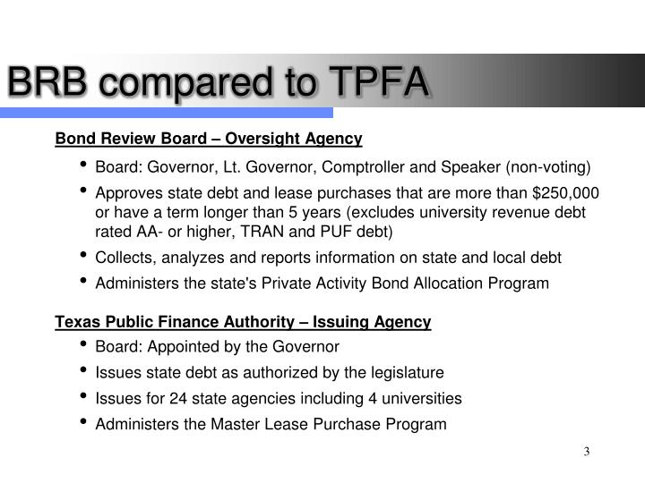 Brb compared to tpfa