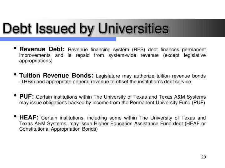 Debt Issued by Universities