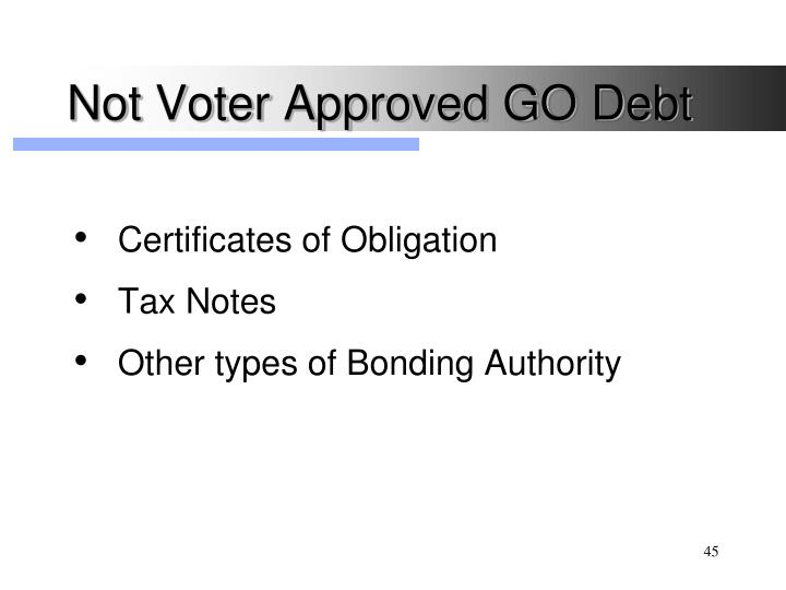 Not Voter Approved GO Debt