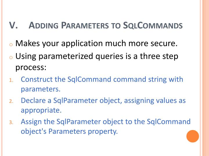 Adding Parameters to
