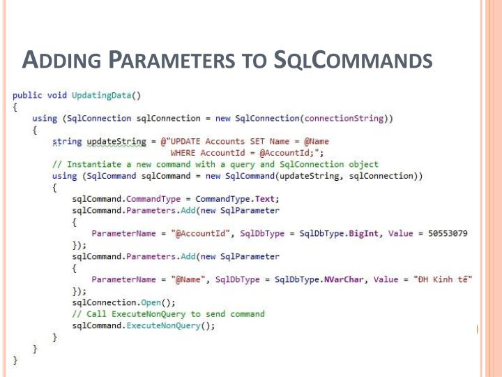 Adding Parameters to SqlCommands