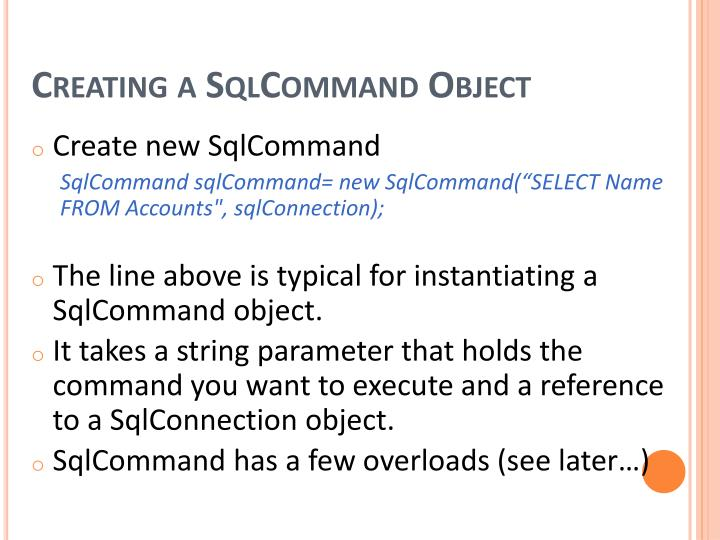 Creating a SqlCommand
