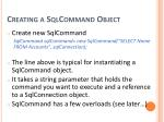 creating a sqlcommand object