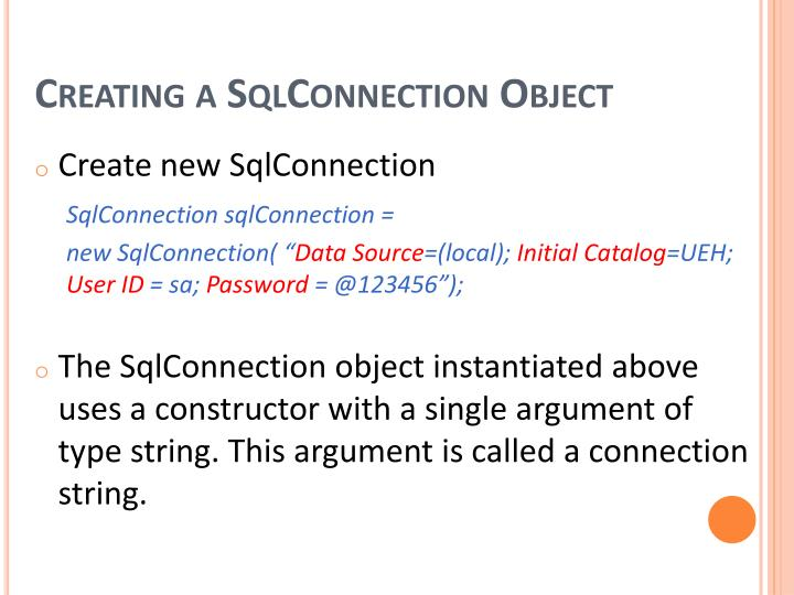 Creating a SqlConnection